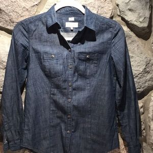 Loft Button Down Softened Jean Shirt